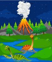 Scen med två dinosaurier i floden