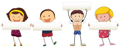 Kinder halten weiße Fahne vektor