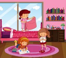 Tre tjejer gör olika saker i sovrummet
