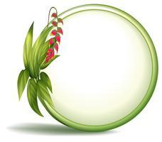 En tom cirkelgräns med långsträckta löv