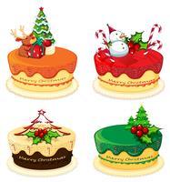 Fyra tårtdesigner för jul vektor