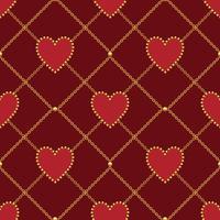 Hjärtform och gyllene kedja på mörkröd bakgrund. Sömlöst mönster. Vektor illustration
