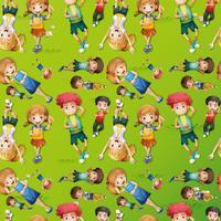 Nahtloses Hintergrunddesign mit Kindern auf Gras vektor