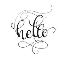 Hej text isolerad på vit bakgrund. kalligrafi och bokstäver