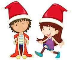 Pojke och tjej som bär santa outfit vektor