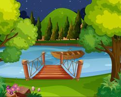 Hintergrundszene mit dem Boot, das auf den Fluss schwimmt vektor