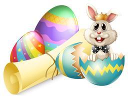 Ett knäckt ägg med en kanin