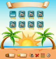Spielvorlage mit Strandhintergrund vektor