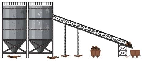 Eine Kohlenfabrik auf weißem Hintergrund vektor