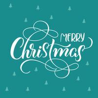 blauer Feiertagshintergrund mit Text frohen Weihnachten. Kalligraphie und Beschriftung. Vektorabbildung EPS10 vektor