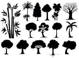 Sihouette olika typer av träd vektor