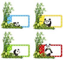 Polkadot Etiketten mit Panda und Bambus vektor