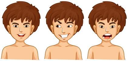Junge in drei Emotionen vektor