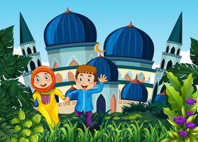Paar geht in die Moschee