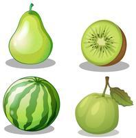 Färska frukter i grönt
