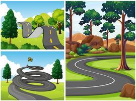 Tre scener med vägar i parken