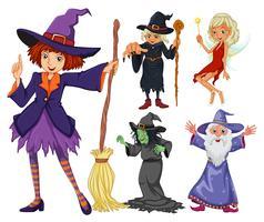 Fairytales satt med häxa och trollkarl vektor