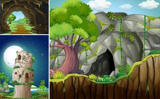 Tre scener med grotta och berg
