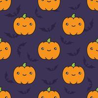 Seamless halloween mönster med pumpor på mörk violett bakgrund med silhouettes of flittermouse. vektor