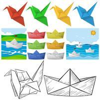 Origami-Handwerk mit Vogel und Boot vektor