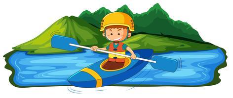 Ein junger Mann, der im See Kanu fährt vektor