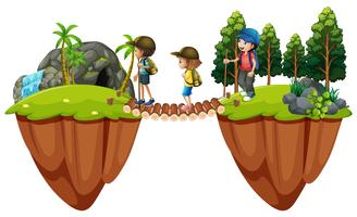 Barn vandrar ut i skogen vektor