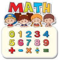 Mathe-Arbeitsblatt mit Kindern und Zahlen