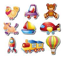 Klistermärken med leksaker vektor