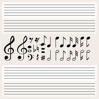 Musiknoten und leere Skalen