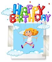 Tjej med grattis på födelsedagen ballong på photoframe