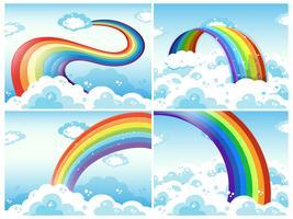 Ein Satz von Regenbogen und Wolke vektor