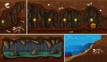 En uppsättning av naturliga underjordiska utrymmen