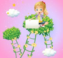 En tjej som håller en tom skylt sitter på toppen av en växt
