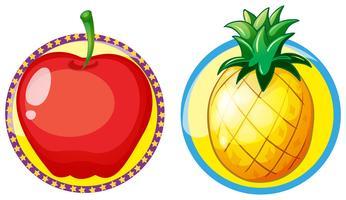 Rött äpple och ananas på runda märken