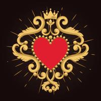 Schönes dekoratives rotes Herz mit Krone auf schwarzem Hintergrund. Vektor-illustration