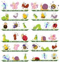 Olika slags insekter på gräset