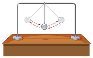 Schwerkraftkugel, die auf Tabelle schwingt vektor