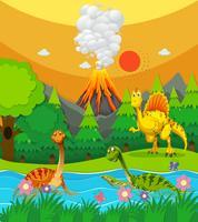 Dinosaurerna simmar i floden