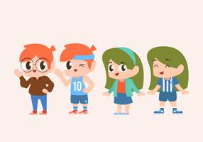 Netter Kinderzeichensatz, der Sport-Vektor-Illustration tut
