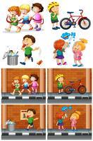 Barn leker med vänner på vägen vektor
