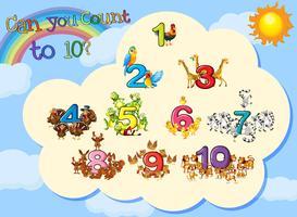 Många djur med siffror till tio