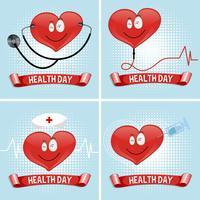 Gesundheitstaghintergrund mit Herzen und medizinischer Ausrüstung