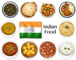 Olika maträtt av indisk mat vektor