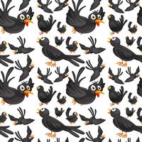 Sömlös bakgrundsdesign med krager som flyger