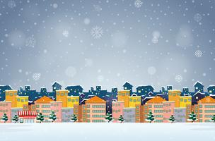 Village på vinterns bakgrund