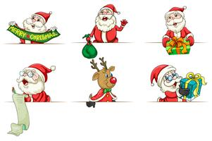 Santa och ren i olika handlingar vektor