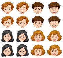 Människor med olika ansiktsuttryck