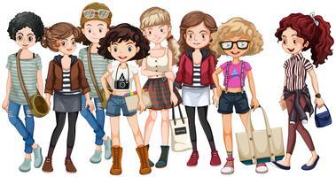 Hipster tjejer i grupp vektor