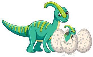 Vuxen dinosaurier och baby dinosaurier kläckande ägg
