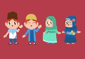 Nette moslemische Kinder, die Vektor-Illustration spielen